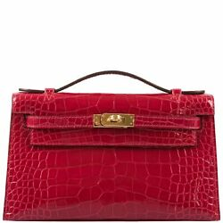 Hermes Kelly Mini Pochette Braise Shiny Alligator Gold Hardware