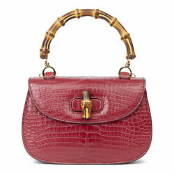 GUCCI BURGUNDY ALLIGATOR LEATHER BAMBOO CLASSIC TOP HANDLE  HB3083