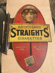 Very Rare,1907 Authentic Original Egyptienne Straights Cigarette Flange Sign