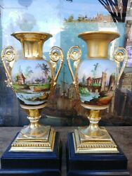 Pair Of Antique 19c French Empire Painted Porcelain Urns With Base