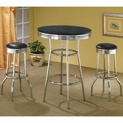 50and039s Soda Fountain In Retro Chrome 3 Piece Counter Height Bar Table Set