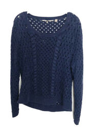 Knitted And Knotted Anthropologie Navy Cable Open Knit Scoop Sweater Sz L C1