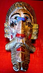 Old - Hand Carved Wood - Spaniard Mask - Glass Eyes - Guatemala - Great Detail
