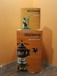 NEW Dept 56 4051009 Witch Way Home Tower Watch Telescope Halloween Village LOT