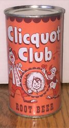 Super Clean Clicquot Club Root Beer Flat Top Soda Can--pre-zip Code Rolled