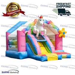 15x13ft Inflatable Colorful Unicorn Bounce House And Slide With Air Blower