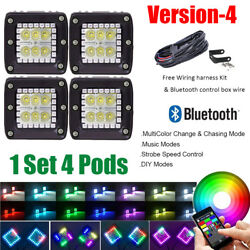 4x 3 Inch 30w Led Work Light Flood Pods Rgb Halo Change And Chasing Bluetooth Kit