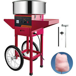 Red Sugar Floss Maker Carnival Commercial Electric Cotton Candy Machine W/ Cart