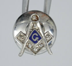 Vintage Masonic Solid 10k White Gold With Diamonds Tie Clip 11 Mm / 0.6g