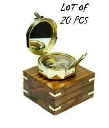 Maritime Brass Compass Polished Direction Compass W/ Wooden Box Lot Of 20 Piece