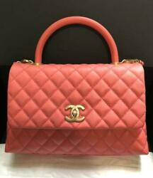 CHANEL Coco Handle Chain Shoulder Bag Caviar skin Salmon Pink Woman Auth New M