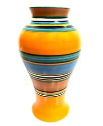 Clarice Cliff Bizarre Liberty Stripes / Band Mei Ping 9 Vase / Art Deco Pottery
