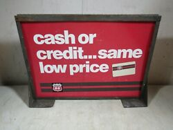 Vintage Phillips 66 Gas And Oil Counter Top Tabletop Sign Metal Frame Double Sided