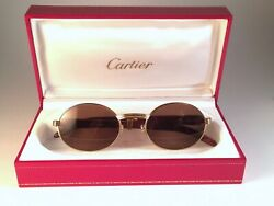 VINTAGE CARTIER GIVERNY GOLD & WOOD 4920 SMALL BROWN LENSES FRANCE SUNGLASSES