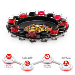 Spin And Shot Drinking Roulette Wheel Set Party Casino Glasses Game For Adults 18+