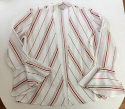BOUTIQUE Favlux Fashion Women's Large Stripe Open Cardigan Rust White Flowy EUC