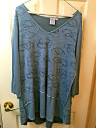 Parsley and Sage LAdies size XL Blue Tunic with Black line designs