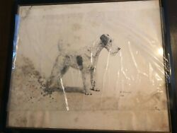 Marguerite Kirmse  VERY RARE ' Wire Fox Terrier Original Etching Print Signed