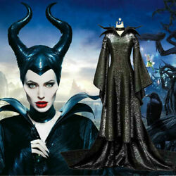 Movie Maleficent Evil Queen Cosplay Costume Party Outfit Fancy Dress + Hat Adult