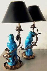 Antique Qing Dynasty Parrot Figurine Lamps With Shades - a Pair