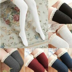 Women Cable Knit Long Stripe Socks Over Knee Thigh High Girl Lady Lace Stocking $6.55