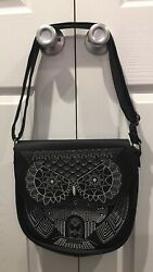 Loungefly Stitched Mandala Owl Design Faux Leather Crossbody Purse Bag