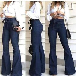 NEW Stylish Women#x27;s Long Jeans Bell Bottom Denim Pants Lace Lady Sexy Casual $22.60