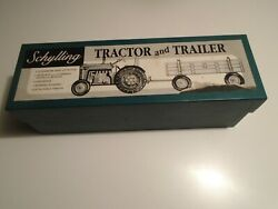 Vintage Schylling Tractor And Trailer Wind-up Tin Toy With Box Clean Tested
