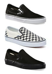 Vans Classic Slip on Shoes Mens Sneakers Black Checkerboard All Black NEW