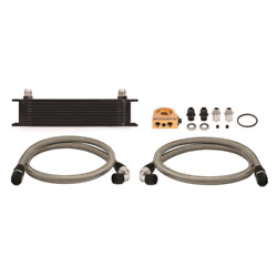 Mishimoto Universal Thermostatic 10 Row Oil Cooler Kit Black Fast Shipping