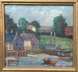 East Coast Fishing Village - Waldo Pert Oil on board, - 1933