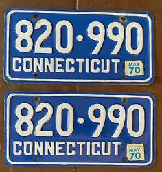 Connecticut 1970 License Plate Pair - High Quality 820-990