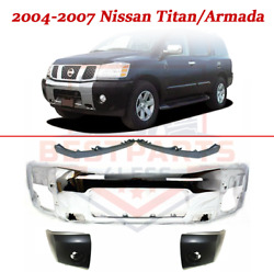 Front Chrome Bumper W/end And Filler Panel 5pc For 2004-2007 Nissan Titan/armada