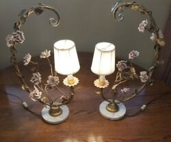 Vintage Brass Lamps With Marble Bases And Pink Porcelain Roses