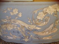 2 Brewster Wallpaper Border Classic Scroll of Leaves Flowers Blue Beige No B3530