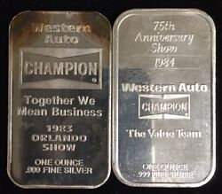 Western Auto Champion 1983 And 1984 Set Of 999 Silver Art Bars 1 Troy Oz Each Rare