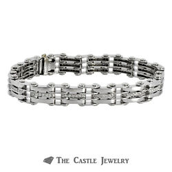14k White Gold Menandrsquos Bracelet With Railroad Links And Diamonds