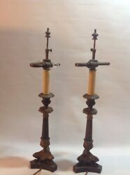 A Pair Of Antique French Ornate Gilt Bronze Candlestick Pillar Lamps Electric