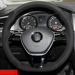 Anti Slip Swede Leather Steering Wheel Stitch On Wrap Cover For Vw Golf 7