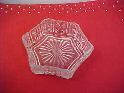 Avon Fostoria Cut Glass Dish For Candy Nuts Starburst Pattern On Six Sides Used