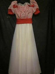 Lace Party Dress Play Costumes Antique Vintage Juniors Red And White Sz 9