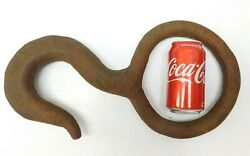 Huge Antique Iron Nautical Industrial Hand Hammer Forged Eye Hook Whaling 1800s