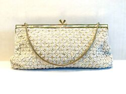 Vintage Beaded Evening Bag Purse Wedding Ivory White Gold quot;Bags by Debbiequot; MOP  $61.00