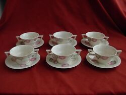 Limoges,haviland, French Porcelain Coffee Cups And Saucers,set Of 6.