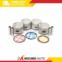 Pistons W/ Rings Fit 91-98 Toyota Paseo Tercel 1.5 5efe Dohc