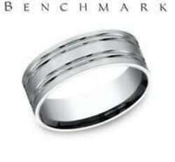 Benchmark 14k White Gold Satin Center Two Cut Mens Comfort Fit Wedding Band