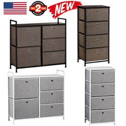Faux Linen Chest Of Drawer Home Dresser Tower Clothes Storage Organizer Furniure