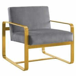 Modway Astute Velvet Accent Chair in Gray and Gold