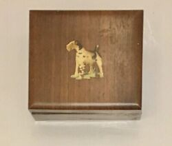"""Vintage Wooden Dresser Box Caddy Airedale Terrier Dog 5"""" Long Dovetail Corners"""