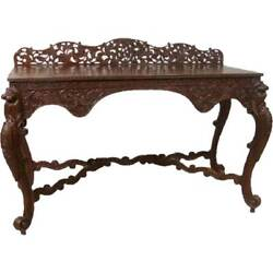 Antique Anglo Indian Carved Rosewood Console Table 19th Century